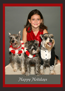 Girl with 3 Snauzer Dogs Portrait - FineFurtography.com of South Florida